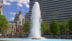 Van de de zomertijd van Philadelphia van het de liefdepark de fontein 4k Pennsylvania de V.S. stock video
