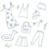 Van de zomervrouwen en meisjes kleren Reeks vectorillustraties royalty-vrije illustratie