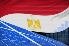 Van de de zonne-energiemacht van Egypte digitaal de grafiekconcept - moderne natuurlijke energie industriële illustratie 3D Illus royalty-vrije illustratie