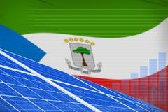 Van de de zonne-energiemacht van Equatoriaal-Guinea digitaal de grafiekconcept - milieu natuurlijke energie industriële illustrat stock illustratie