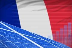 Van de de zonne-energiemacht van Frankrijk digitaal de grafiekconcept - milieu natuurlijke energie industriële illustratie 3D Ill vector illustratie