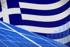 Van de de zonne-energiemacht van Griekenland digitaal de grafiekconcept - alternatieve natuurlijke energie industriële illustrati vector illustratie