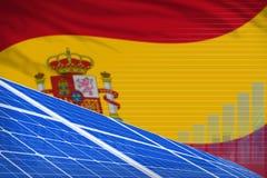 Van de de zonne-energiemacht van Spanje digitaal de grafiekconcept - milieu natuurlijke energie industriële illustratie 3D Illust stock illustratie