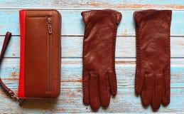 Van de de zonnebrilbeurs van leerhandschoenen van de de manierlente de klerenconcept van Autumn Womens Accessories stock foto's