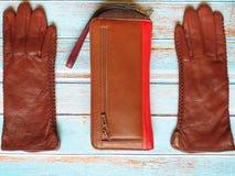 Van de de zonnebrilbeurs van leerhandschoenen van de de manierlente de klerenconcept van Autumn Womens Accessories stock fotografie