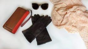 Van de de zonnebrilbeurs van leerhandschoenen van de de manierlente de klerenconcept van Autumn Womens Accessories royalty-vrije stock fotografie