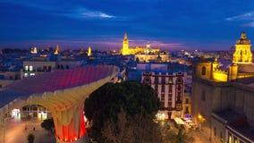 Van de zonsondergangmetropol van Spanje Sevilla van de de parasolobservatie van de het dek vierkante mening de tijdtijdspanne Spa