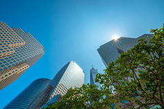 Van de zonster en hemel schrapers van de stad van New York royalty-vrije stock foto