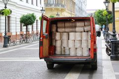 Van delivery in city royalty free stock images