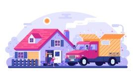Van Delivery Service Scene Concept illustration stock