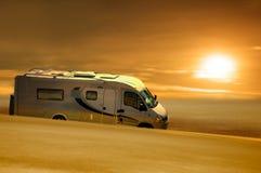 Van in desert Royalty Free Stock Photos