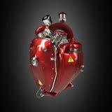 Van diesel het punkhart robottechno de motor met pijpen, radiators en polijst de rode delen van de metaalkap Geïsoleerde Stock Foto