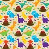 Van dinosaurus Naadloos Tileable Vectorpatroon Als achtergrond Royalty-vrije Stock Afbeeldingen