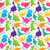 Van dinosaurus Naadloos Tileable Vectorpatroon Als achtergrond Royalty-vrije Stock Afbeelding