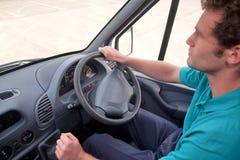 Van driver rechts aandrijvingsvoertuig. stock afbeeldingen