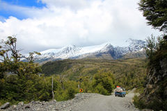 Van driving on Carretera Austral, Chile royalty free stock image