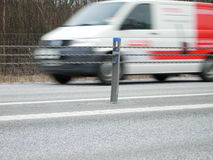 A van driving fast. A van drivingfast on the road Stock Images