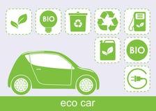 Van ecologieauto en eco pictogrammen Royalty-vrije Stock Afbeeldingen