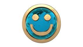 Van een lus voorzien animatie: 3d gouden glimlachgezicht emoticon tegen de spinnende lichtblauwe die aarde-bol op witte achtergro stock videobeelden