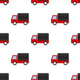Van Flat Icon Seamless Pattern rouge Images libres de droits
