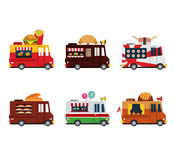 Van with food, meals on wheels, fast food. Flat. Style icon vector Royalty Free Stock Photography
