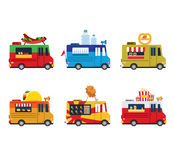 Van with food, meals on wheels, fast food. Flat royalty free illustration