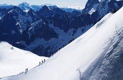 Van Frankrijk aan Italië over Mont Blanc stock foto