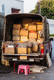 Van full of boxes Royalty Free Stock Photo
