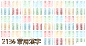 2136 van gemeenschappelijkste Kanji in kleur Royalty-vrije Stock Foto's