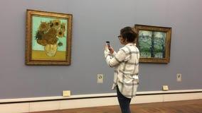 Van Gogh berömd solrosmålning i Neu Pinakothek i Munich i Tyskland stock video