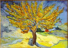 Van Gogh Mulberry Tree Painting. Copy of famous Van Gogh Mulberry Tree painting stock images