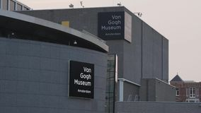 Van Gogh Museum in Amsterdam at Museums Square - AMSTERDAM - THE NETHERLANDS - JULY 19, 2017. Van Gogh Museum in Amsterdam at Museums Square - AMSTERDAM stock video footage