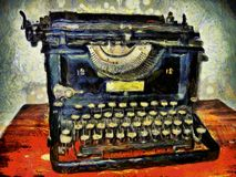 Van Gogh`s Typewriter. Digital Art - Photo Manipulation. Antique typewriter on full display, then processed through image manipulation royalty free illustration