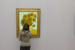 VAN GOGH - SUNFLOWERS. Sunflowers painted by Vincent van Gogh in Neue Pinakothek, Munich, Germany Royalty Free Stock Photography