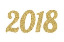 2018 van goud schittert op witte achtergrond, symbool van Nieuwjaar Royalty-vrije Stock Afbeeldingen