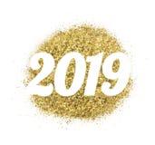 2019 van goud schittert op witte achtergrond, symbool van Nieuwjaar Royalty-vrije Stock Afbeeldingen