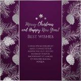 Van groetnieuwjaar en Kerstmis kaart met zilveren glanzend ornament van denneappels Stock Fotografie