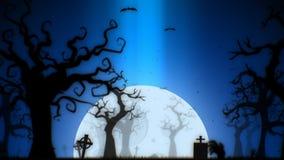 Van Halloween blauw thema griezelige als achtergrond, met de griezelige boom, de maan, de knuppels, de zombiehand en het kerkhof stock fotografie