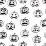 Van Halloween naadloze pompoen als achtergrond met verschillende gelaatsuitdrukkingen, Royalty-vrije Stock Foto