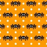Van Halloween vector naadloos patroon als achtergrond Spinneweb, Halloween-symbolen Halloween-silhouet voor Halloween-partij Royalty-vrije Stock Foto's