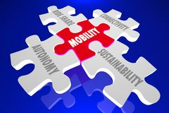 Van het het Aandeelvervoer van de mobiliteits het Autonome Rit Raadsel 3d Illustra royalty-vrije illustratie