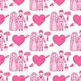 Van het het achtergrond paar naadloze patroon van het hart viert de scherpe vectorhuwelijk roze mooie kleurenkaart helder emotico royalty-vrije illustratie