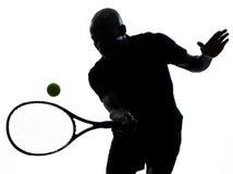 De voordelige positie van de het tennisspeler van de mens Stock Foto