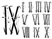Van het alfabet (cijfers) de doopvont in Aziatische stijl. Stock Afbeelding