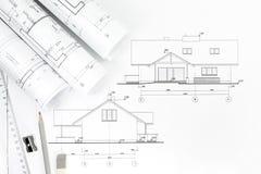 Van het architectuurtekening en werk hulpmiddelen Stock Foto