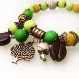 Van het armbandsteen en glas parels Royalty-vrije Stock Fotografie