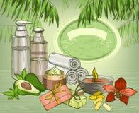 Van het avocado organische olie en kuuroord schoonheidsmiddelenachtergrond Royalty-vrije Stock Afbeeldingen