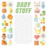 Van het baby (meisje en jongen) materiaal de vlak multicolored leuke vectorachtergrond met plaats voor uw tekst Minimalisticontwe Royalty-vrije Stock Afbeeldingen