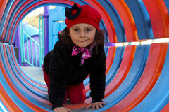3 van het babyjaar meisje op dia Royalty-vrije Stock Foto