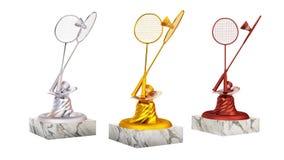 Van het badminton gouden zilver en brons trofeeën met shuttles in oneindige omwenteling royalty-vrije illustratie